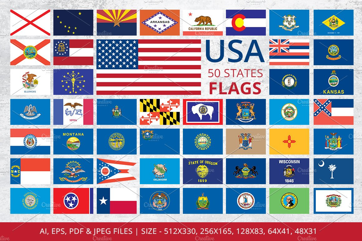 States Flags of USA on