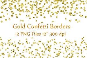 Gold Glitter Confetti borders