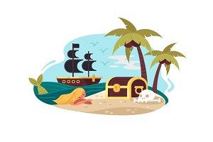 Pirate uninhabited island