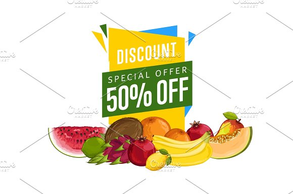 Discount Sale Poster With Fresh Fruit