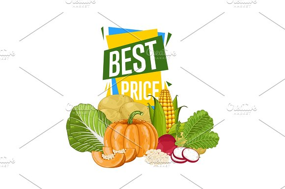 Best Price Discount Poster With Fresh Vegetable