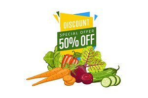 Discount sale poster with fresh vegetable