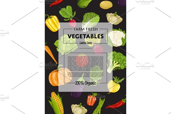 Farm Fresh Vegetable Banner With Natural Product