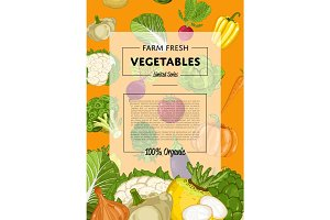Fresh farm food banner with vegetable
