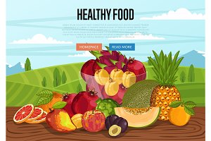 Healthy food poster with rural landscape
