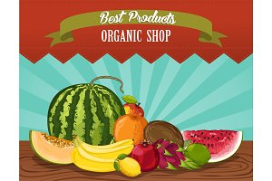 Organic shop poster with fresh fruit