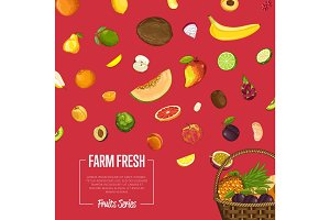 Fresh organic fruit vector poster