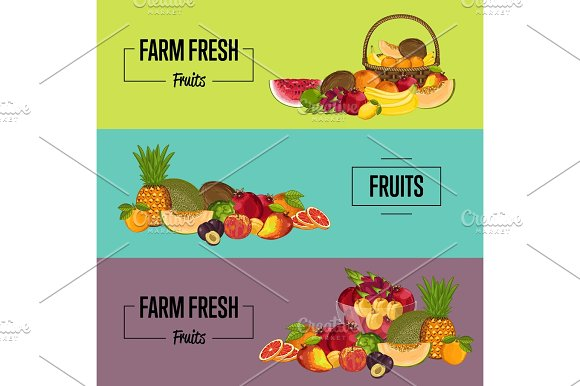 Organic Farm Product Posters Set