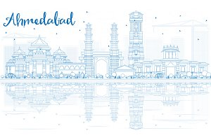 Outline Ahmedabad Skyline