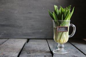 Healthy eating. Wood garlic on vintage table