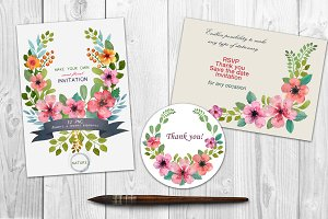 Watercolor DIY floral graphics set