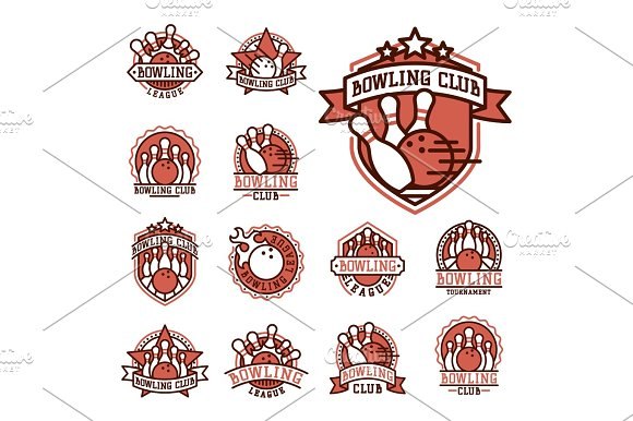 Vector Bowling Emblem And Design Element Logotype Template Badge Item Design For Sport League Teams Success Equipment Champion Illustration