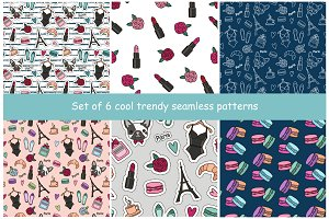 Set of 6 trendy seamless pattern