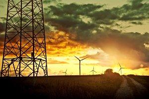 Windmills on the field. Energy.