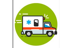 Vector illustration ambulance car. Ambulance auto paramedic emergency.
