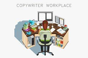Copywriter workplace. Writer at work