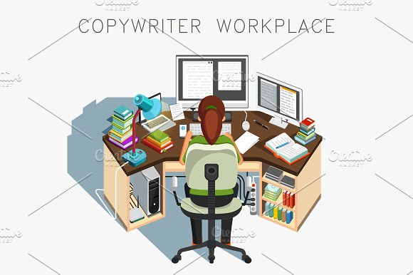 Copywriter workplace. Writer at work