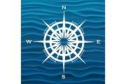 Vector wind rose over blue waves