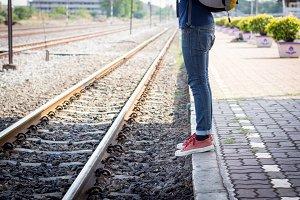 Tourist man enjoy in train station.