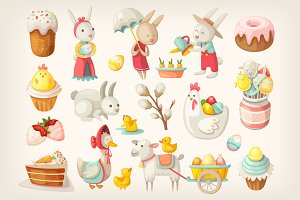 Easter characters, animals and food