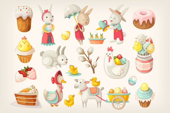 Easter Characters Animals And Food