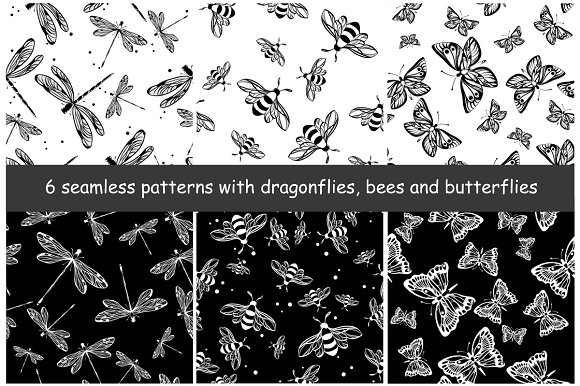 6 Seamless Patterns With Insects
