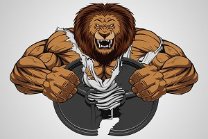 Angry lion strong