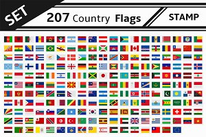 set 207 country flags stamp