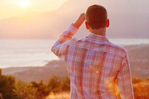 man look over horizon