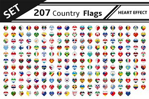 set 207 country flags heart effect