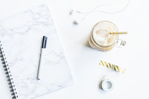 Marble notebook with golden details