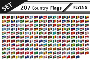 set 207 country flags flying