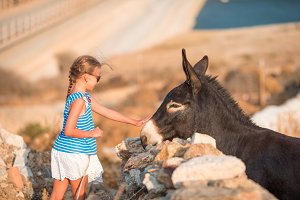 Little adorable girl with donkey in its wild habitat