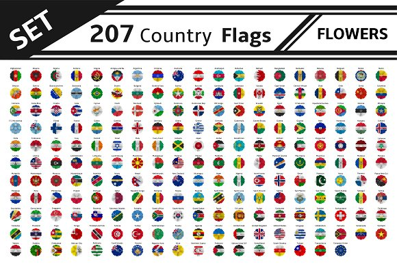 Set 207 Country Flags Flowers