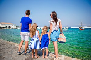 Family vacation in Europe on Mykonos Island, in Greece