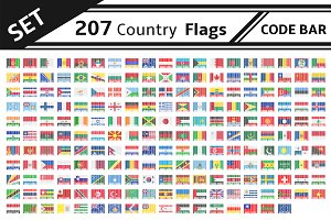 set 207 country flags code bar