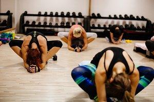women fitness class indoors
