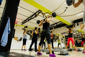 Group fitness workout indoors