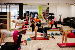 Step and Pump Fitness women group
