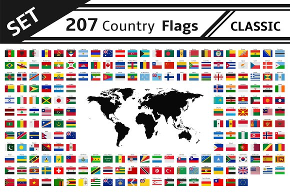 Set 207 Country Flags And World Map