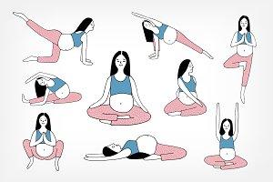 9 yoga poses for pregnant women  predesigned illustrator