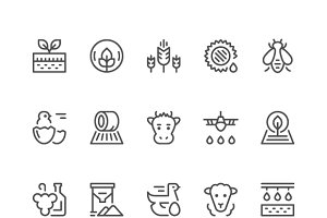 Set line icons of agriculture