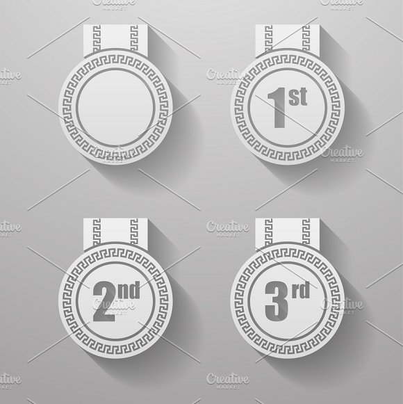 Set of paper badges with ribbons.