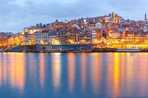 Old town of Porto during blue hour, Portugal.