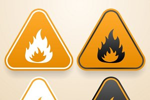 Set of triangular Fire warning signs