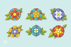 6 Tattoo Flowers Set - 3