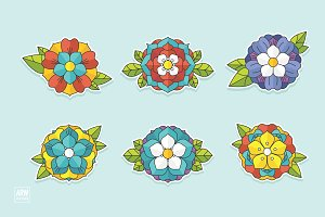6 Tattoo Flowers Set - 1