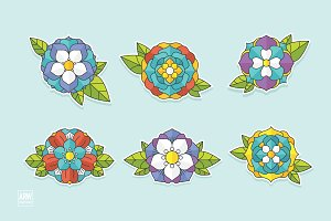 6 Tattoo Flowers Set - 2