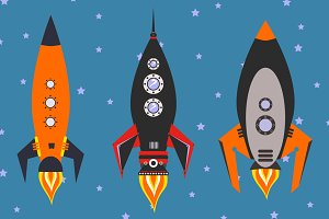 vintage rockets vector set