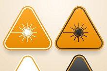 Set of triangular Laser signs